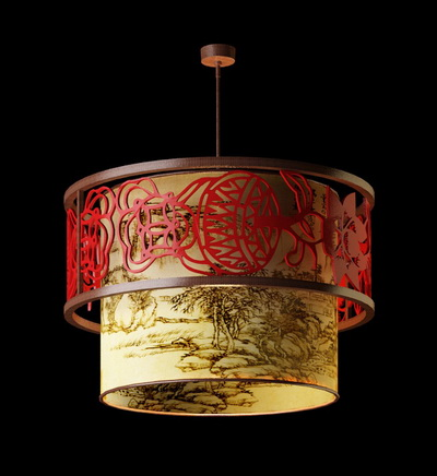 chinese style pendant lamp-2 3d model download,free 3d models download
