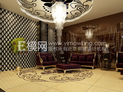 European-style hotel sitting area,3D models