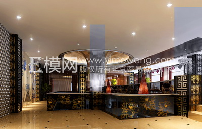Chinese lobby of the hotel,3D models