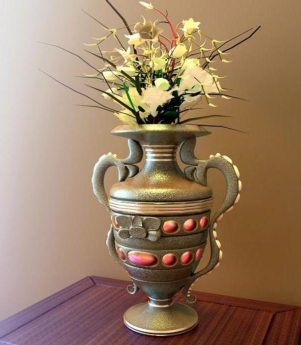 Retro Vase Flower Arrangement 3d Model Download Free 3d