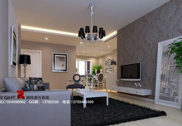 European modern style living room white tone 3d model - Decoration salon moderne taupe ...
