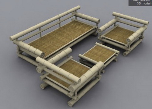 A combination of bamboo sofa,3D models