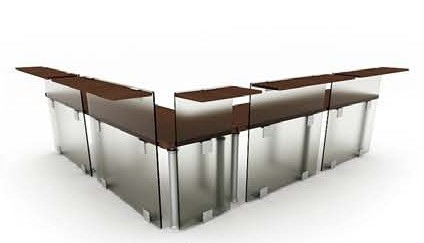 The combination of glass desk,3D models