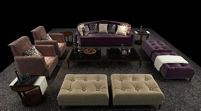 Continental sofa combination,3D models