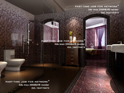 Bathroom with mosaic wall,3D models