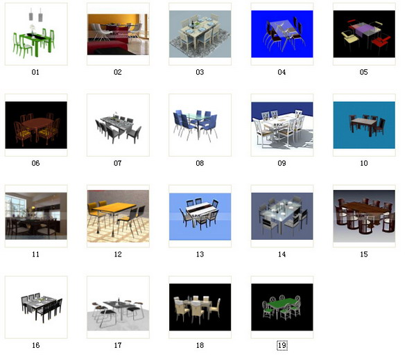 Dining table chairs portfolio 3d model download free 3d for Mobel 3d download