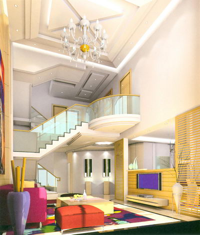 Staircase model for a double deck apartment house 3d model for Villa d arte interior design home collection