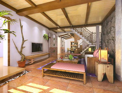 Rustic Interior Design Ideas Beautiful Rustic Interior Of Stairs And Living Room 3d Model