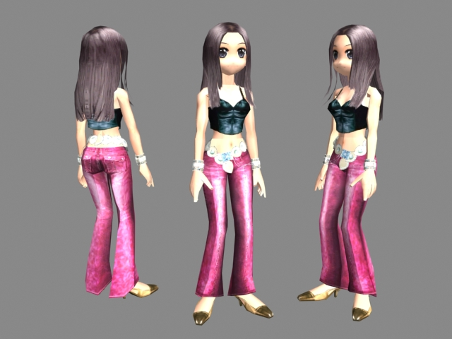Beatuful female dancer character model 3d model download Create 3d model online free