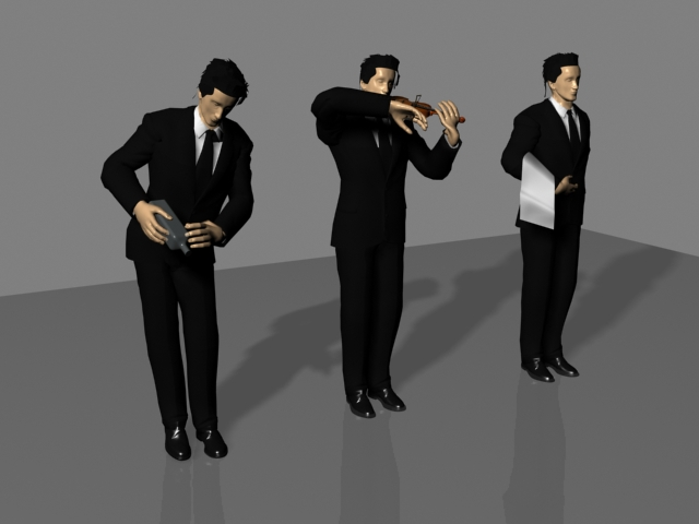Models of Different Postures Waiters 3D Model Download,Free 3D