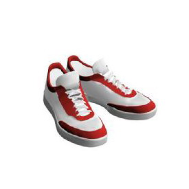 Red And White Sneakers 3Ds Max Model Download Free