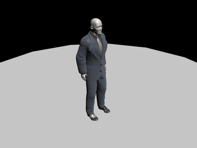 Human Character Model: MAN IN BLACK SUIT/BODYGUARD 3D Model Download