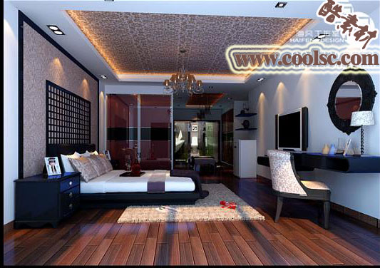 Modern Spacious Rosewood Color Bedroom