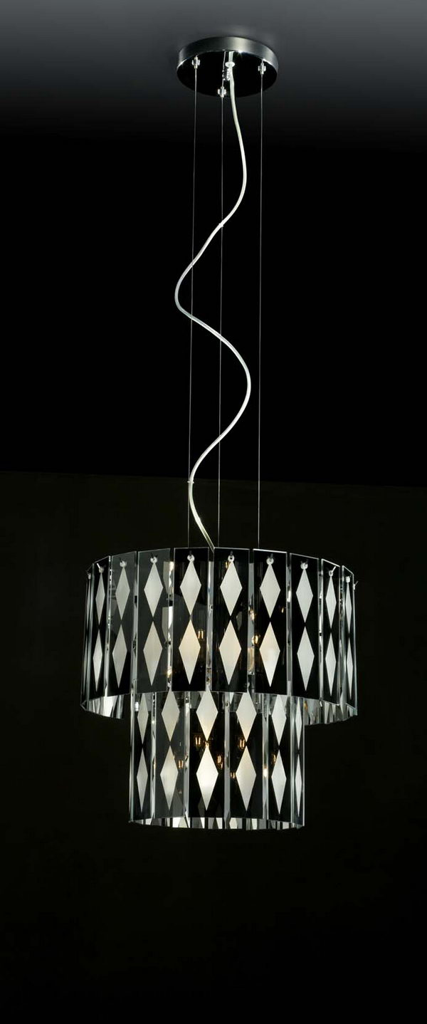 2-Tier Cylinder Black and White Glass Pendant Lamp 3DsMax Model Download Free