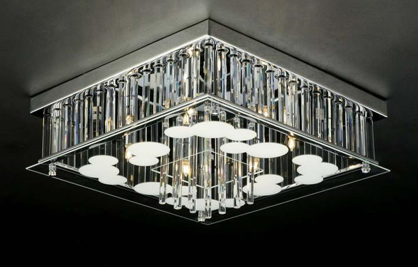 Luxury Cuboid Crystal Pendant Lamp
