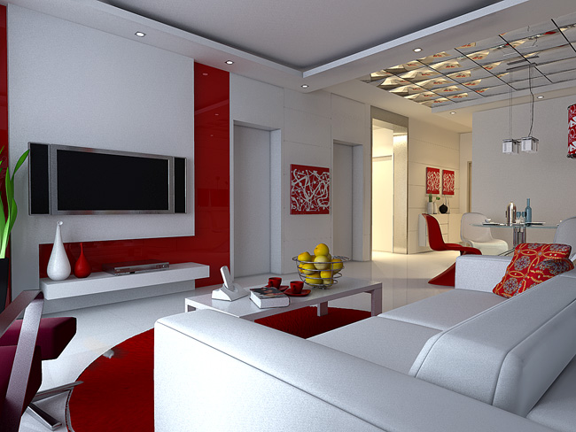Red and White Simplism Living Room