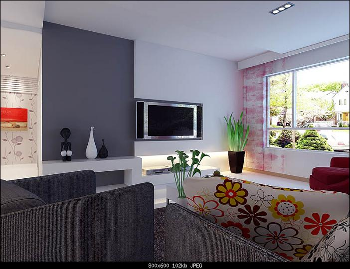 minimalism living room design pink 3d model download free