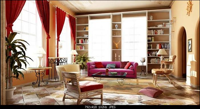 Continental Retro Living Room 3d Model Free Download Large Bookcase