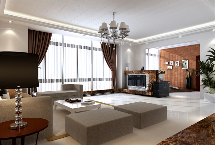 Superbe Simplism Living Room With Lounge Area 3DS MAX Model Download Free