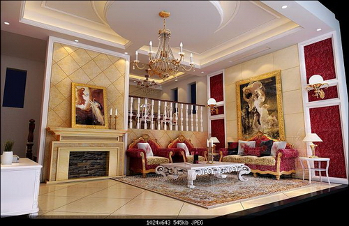 Deluxe european style drawing room 3d model download free 3d models download - European inspired home decor photos ...