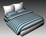 Double Bed Design Series G Green and White Striped