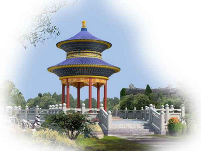 Chinese Architecture£ºDouble Roof Round Pavilion 3DsMax Model