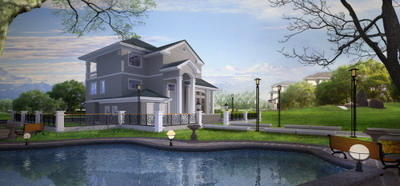 Exterior Design: Villa with Private Pond 3DsMax Model Download Free