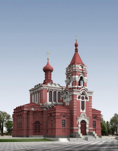 Exterior Model: Red Church 3DsMax Model Download Free
