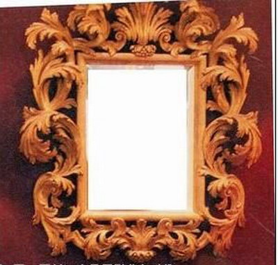 Carved wood mirror 3D model