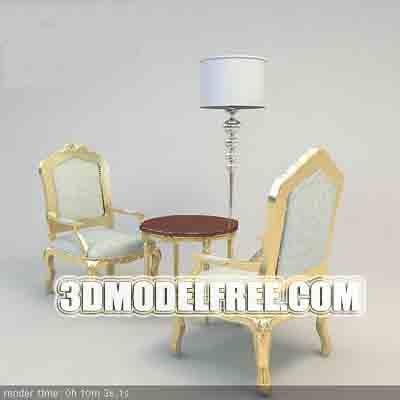 Furniture Model: A Pair of Creamy Armchairs and a Coffee Table