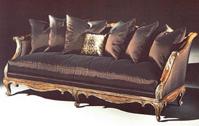 Furniture Model: Deluxe Black Fabric Sofa and Cushions