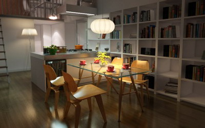 Interior Design: Open Kitchen And Dining Room 3Ds Max Model 3D