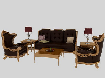 Furniture Model: 3-piece Victorian Unpholstered Sofa Suite 3Ds Max Model