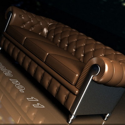 Furniture Model: Brown Leather Sofa 3Ds Max Model