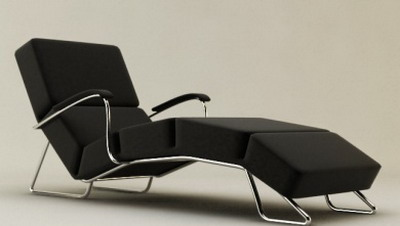 Modern Furniture Model��Black Upholstered Lounge Chair