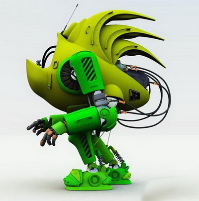 Robot 3Ds Max Model: Green ET Saucerman 3dmax Model