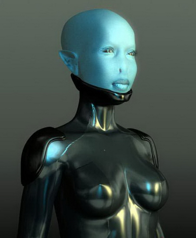 Robot 3Ds Max Model: Female Robot ET Saucerman 3dmax Model