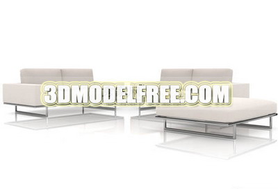 Furniture 3D Model: White Sofa Combination 3dmodelfree
