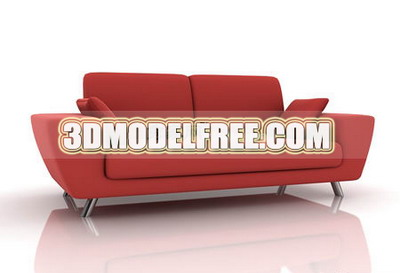 Furniture 3D Model: Red Upholstered Couch 3dmodelfree