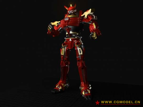3D Game Character: Red Robot Maya Model