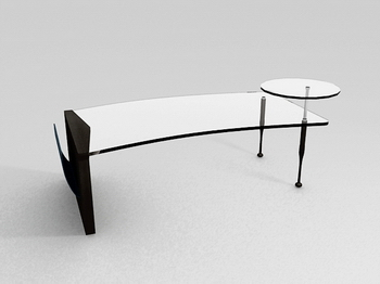 Stylish glass coffee table glass coffee table 3D Model of high-grade tea