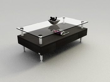 Fashion black glass table, wood coffee table high-end 3D models