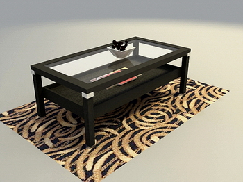 Glass Solid Wood Furniture Wooden Coffee Table 3d Model