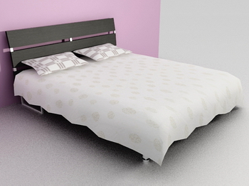 Bed bed 3D Model of soft white wood Simmons