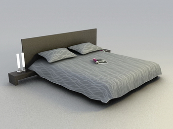 Bed bed soft and abstract 3D model of a modern wood Simmons