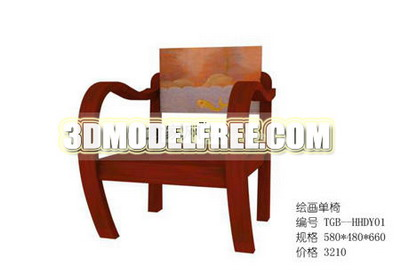 Three-seat sofa-bed TV cabinet furniture, wood chair 3D Model