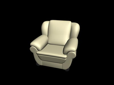 3D model of the old green sofa