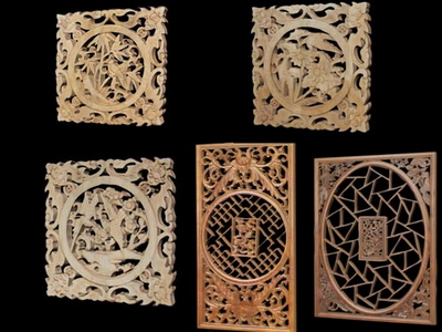 3d model of chinese wood carving hollowing 3d model