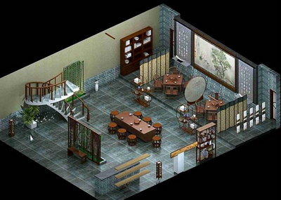 Model of traditional Chinese-style teahouse