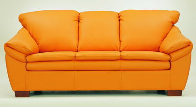 High lazyback leather sofa